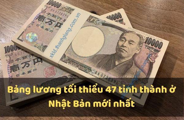 bảng lương tối thiểu 47 tỉnh thành ở Nhật Bản