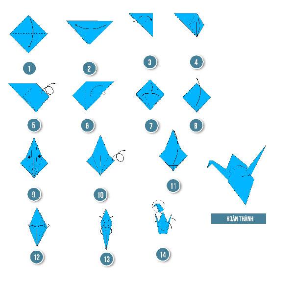 14 bước để gấp hạc giấy xinh xắn