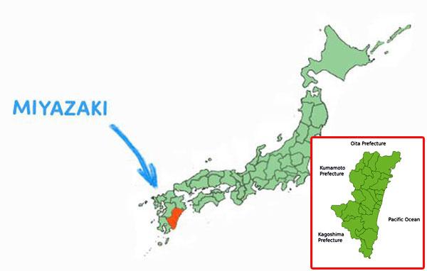 Vị trí địa lý tỉnh Miyazaki