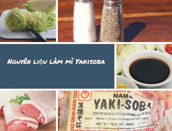 Nguyên liệu cần chuẩn bị cho món mì xào Yakisoba