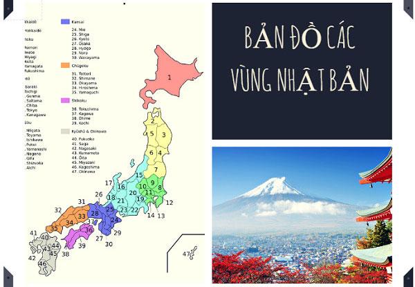 Bản đồ các vùng địa lý của Nhật Bản