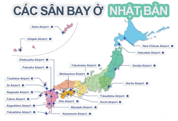 Bản đồ sân bay tại Nhật Bản
