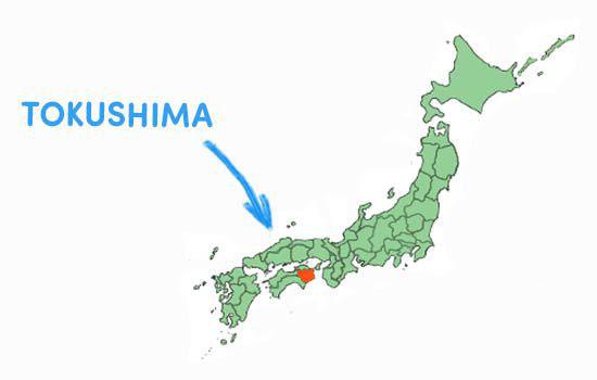 Vị trí địa lý của tỉnh Tokushima Nhật Bản