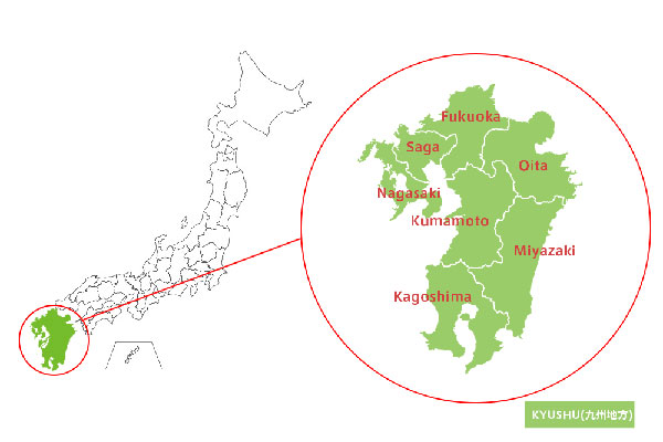 bản đồ vùng kyushu